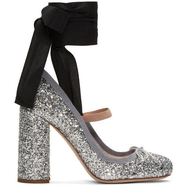 fb1ecc18aeb Miu Miu Silver Glitter Ballerina Heels (5
