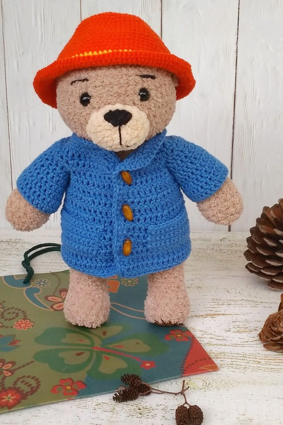 Paddington Bear Crocheted bear Cute teddy bear Plush bear Handmade Interior toy Gift for