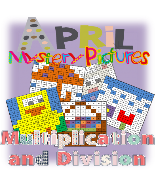 Mystery Pictures April Theme for Multiplication and Division Review from Washburn's Room on TeachersNotebook.com -  (10 pages)  - Mystery Pictures April Theme for Multiplication and Division Review