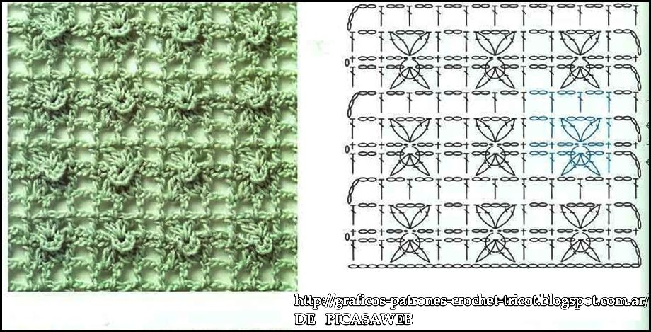 PATRONES - CROCHET - GANCHILLO - GRAFICOS: PUNTOS TEJIDOS A CROCHET ...
