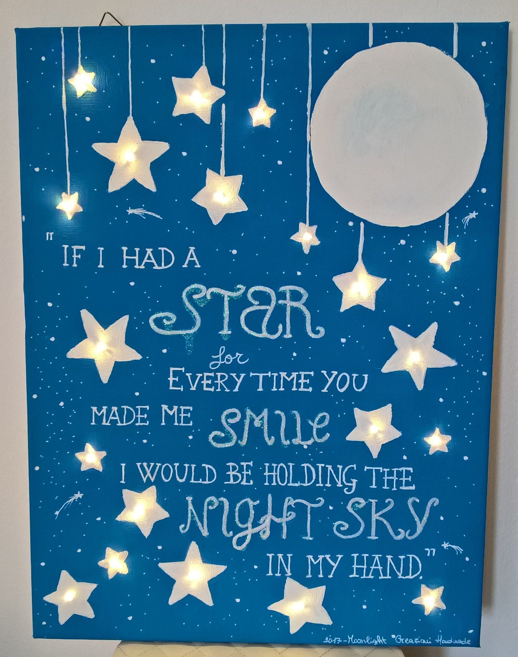 30x40 hand painted canvas with led lighting, perfect gift for a newborn baby di MoonlightCreazioni su Etsy
