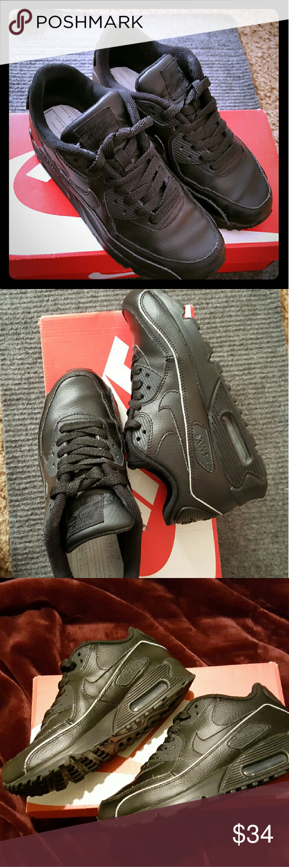 Nike Air Max Blk. Sz.6 Very good condition 8/10 All black leather. Mild signs of ware,some creasing, shown on pics. No stains or worn leather.  New sole inserts. 4.5y Sz.6 womens Nike Shoes Athletic Shoes