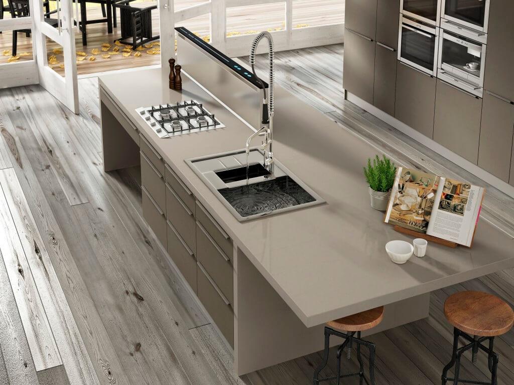 Arbeitsplatten Aus Quarzkomposit Vorteile Nachteile Marken Hersteller Reinigung Und Pflege Arbeitsplatte Kuche Arbeitsplatte Moderne Kuchenideen