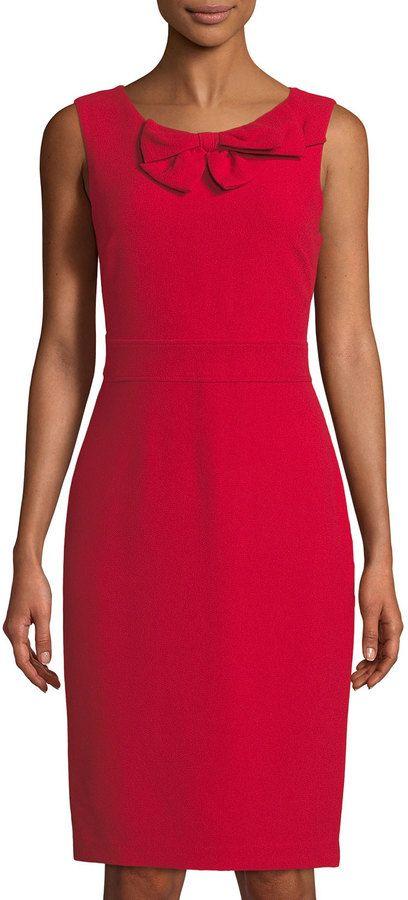 8324093f611 Karl Lagerfeld Paris Sleeveless Bow-Neck Sheath Dress