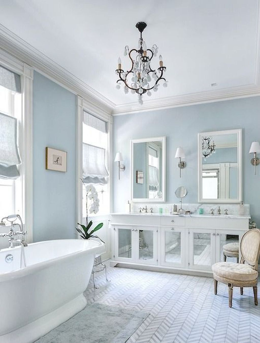 Bedroom Color Ideas That Will Create A Relaxing Oasis White Master Bathroom White Bathroom Designs Light Blue Bathroom