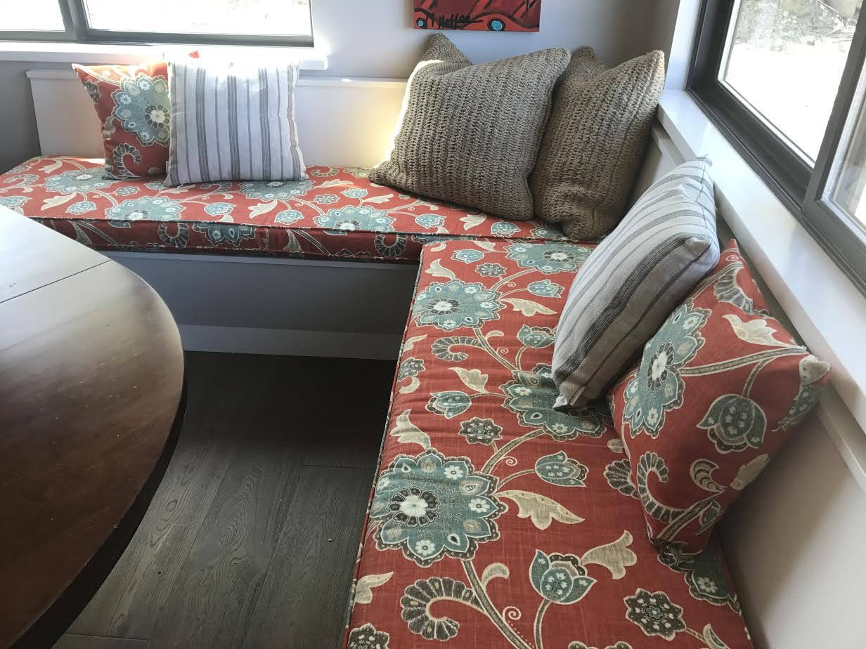 Custom bench or window seat cushion and cover with piping