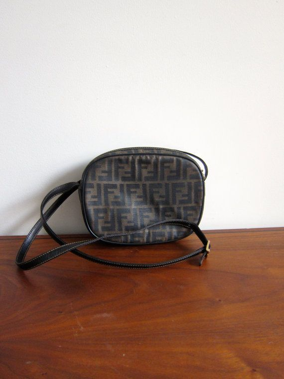 Vintage Fendi Zucca Canvas   Leather Small Cross by ModernSquirrel Small  Crossbody Bag 123e020bac2c8