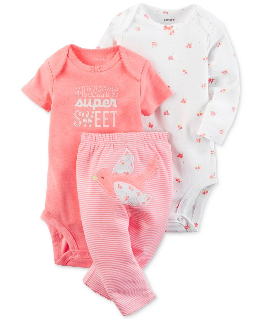 c79457602 Carter's 3-Pc. Super Sweet Bodysuits & Pants Set, Baby Girls (0-24 months)
