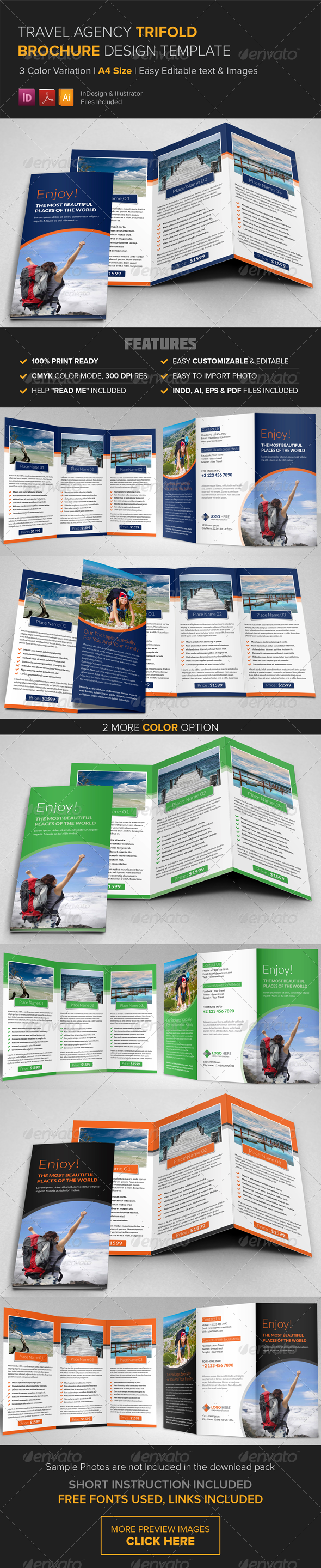 Travel Agency Trifold Brochure Template  Brochure Template