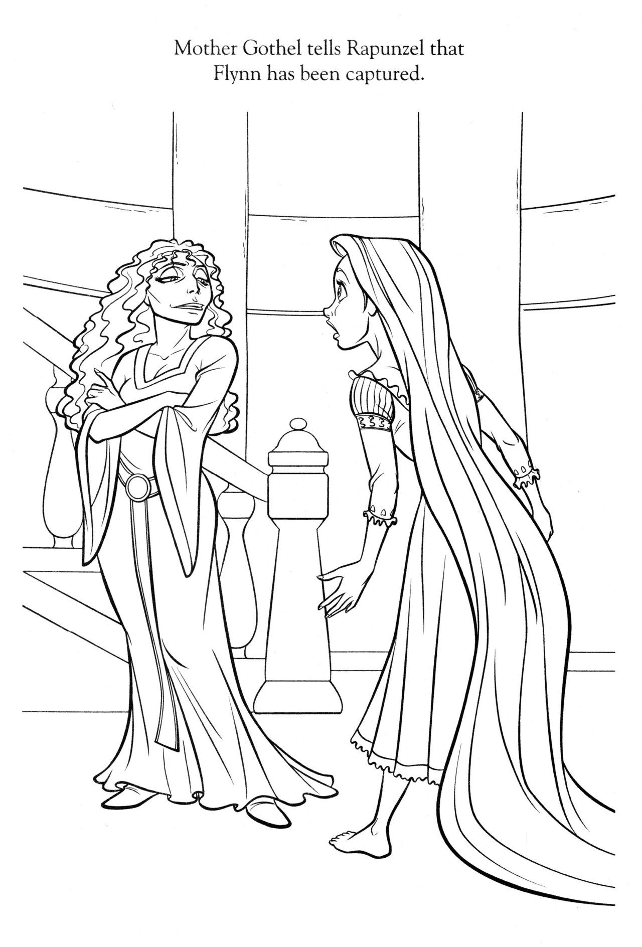Mother Gothel silhouette  Tangled coloring pages, Princess