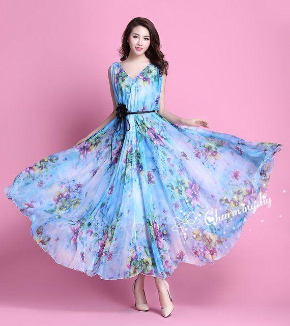 516d4ce86 90 Colors Chiffon Blue Flower Long Party Dress Evening Wedding ...