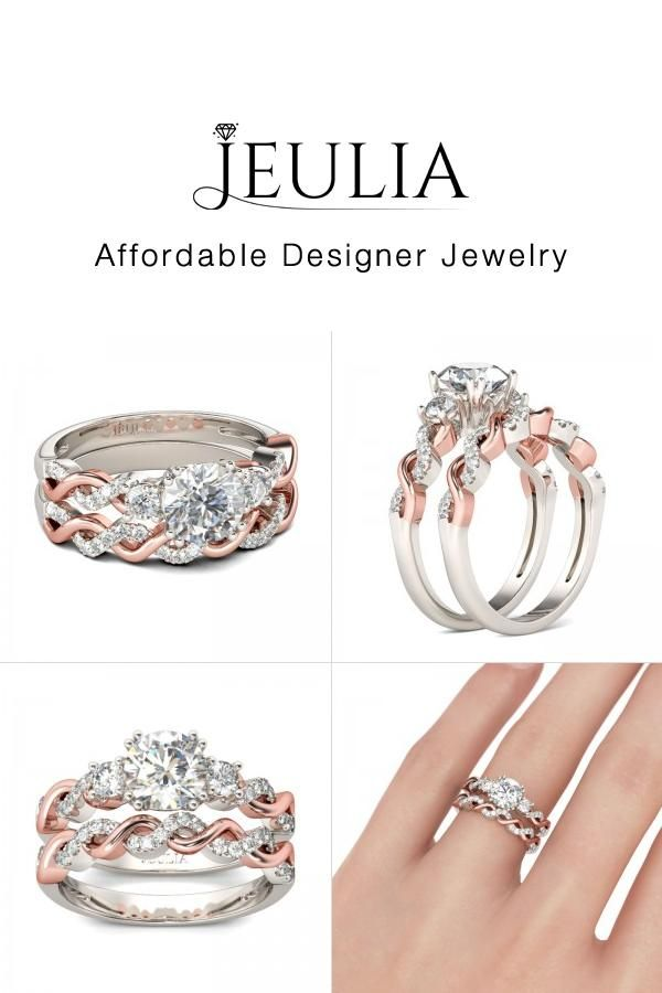 Jeulia 2 Tone Rose Gold Wedding Ring Sets For Women Interwined R Discover More Stunning From Now