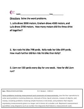 4 md a 2 measurement and data word problems 4th grade common core math sheets 4th grade common. Black Bedroom Furniture Sets. Home Design Ideas