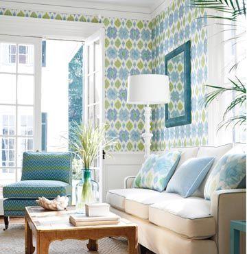 Thibaut Wallpaper and Fabric Bimini in blue/green in