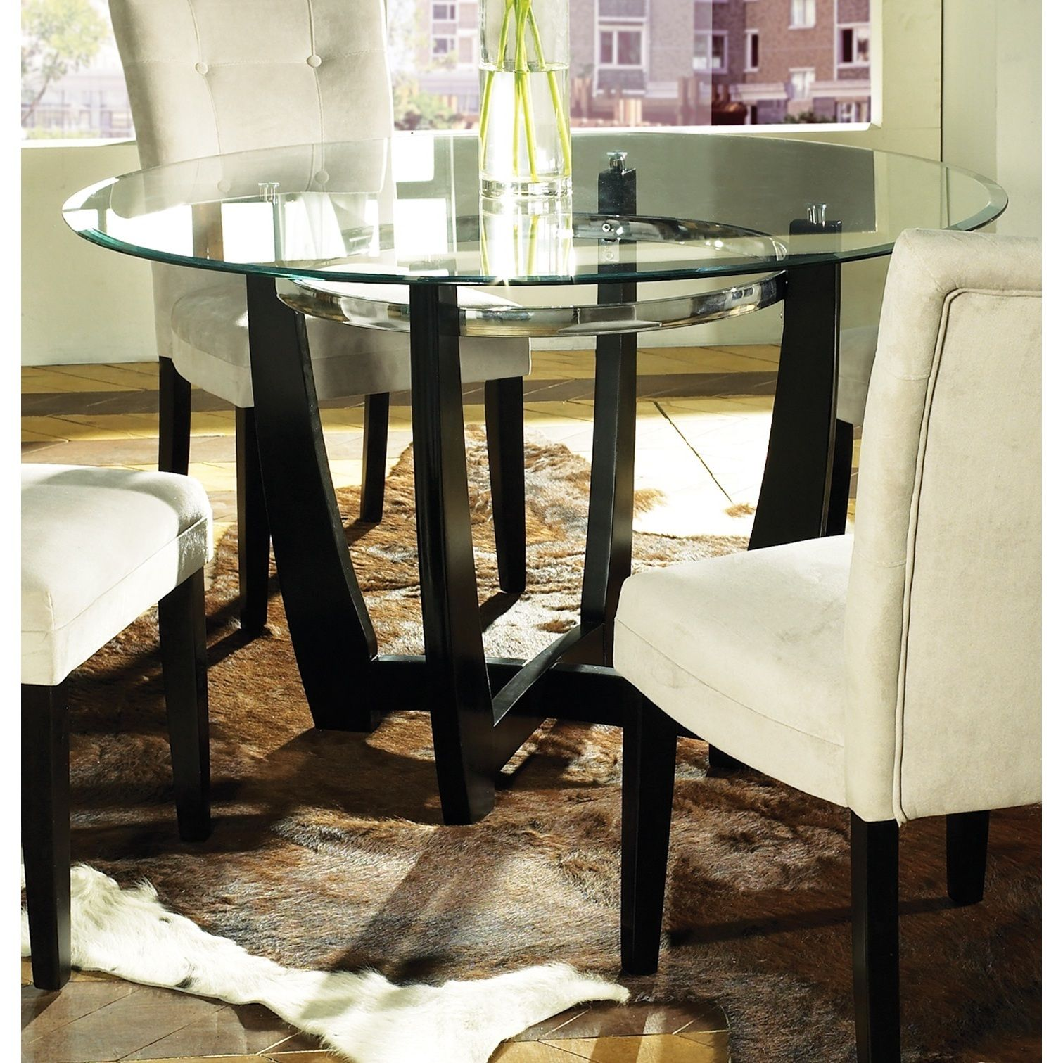 Update Your Kitchen Or Dining Area With The Sleek Monoco Glass Top Table The Shaped Black Ba Glass Round Dining Table Glass Top Dining Table Round Glass Table