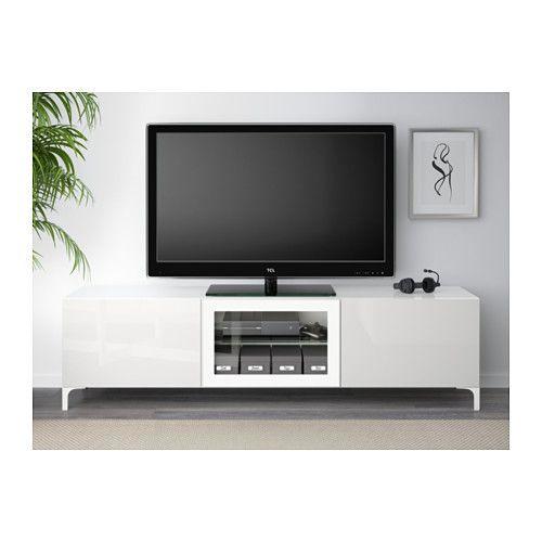 BESTÅ TV-Bank mit Schubladen und Tür - weiß/Selsviken Hochglanz/Klarglas weiß, Schubladenschiene, sanft schließend - IKEA