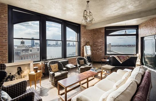 You Can Now Stay In Kirsten Dunst's Incredible NYC Pad #refinery29  http://www.refinery29.com/2014/09/74486/kirsten-dunst-new-york-condo-for-rent#slide4  Exposed brick walls perfectly complement the array of vintage-inspired furniture in the apartment — particularly the gilded floor mirror.