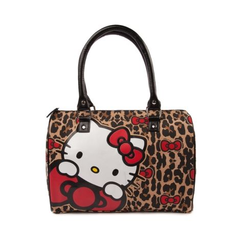 Shop for Hello Kitty Leopard Duffle Bag in Black Tan at Journeys Shoes. Shop today for the hottest brands in mens shoes and womens shoes at Journeys.com.Hello Kitty Leopard Duffle Bag perfect for an overnight stay or whenever a little extra packing space is desired! Features includeCanvas exterior with leopard print, Hello Kitty and bow graphicsZip closureDual strap handleNylon interior with zip pocket, 2 slip pocketsDimensions L 13 x W 6.5 x H 9.5
