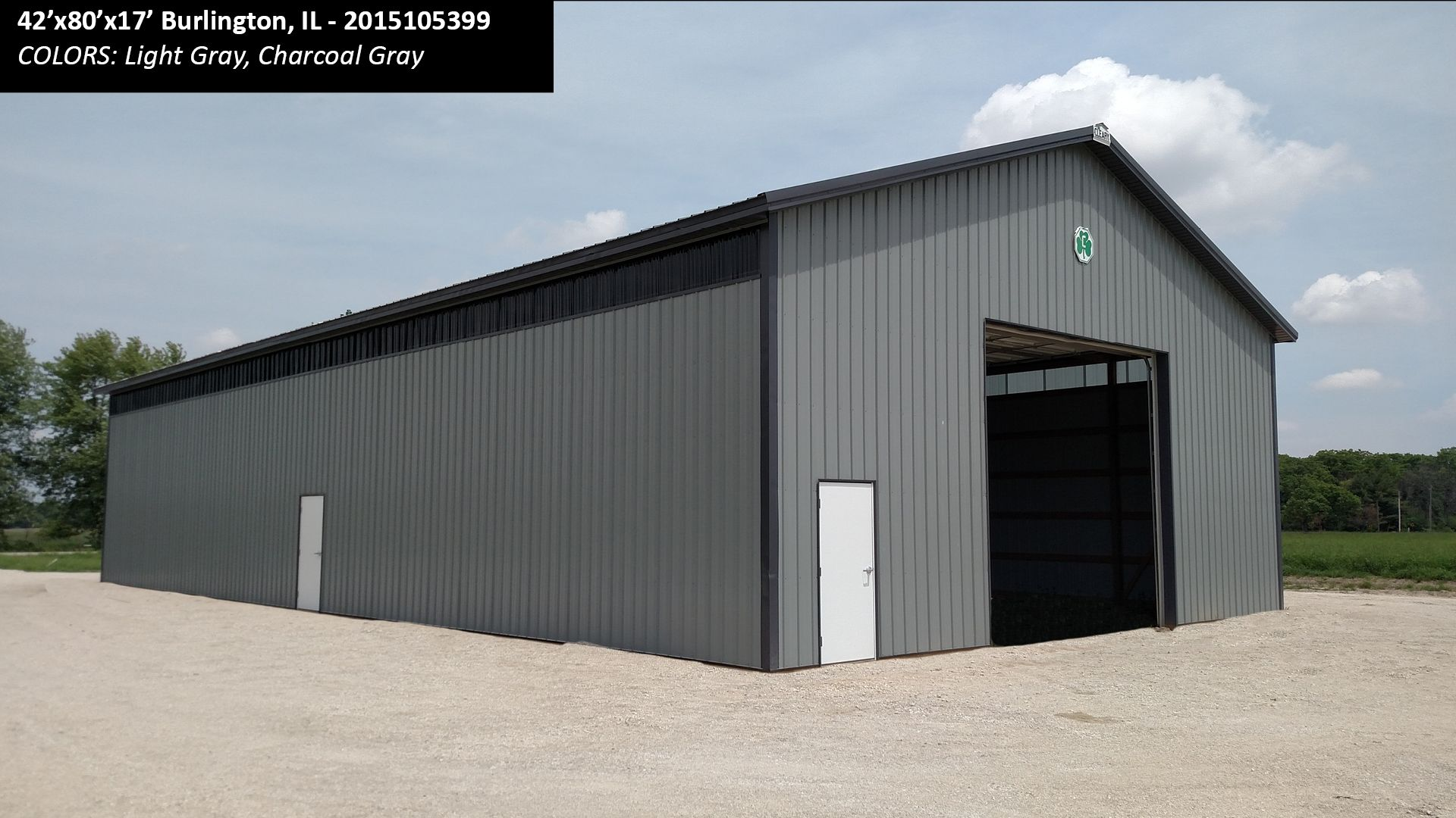 42 X80 X17 Cleary Machinery Building In Burlington Il Colors Light Gray Charcoal Gray Cleary Buildings Steel Building Homes Metal Shop Building
