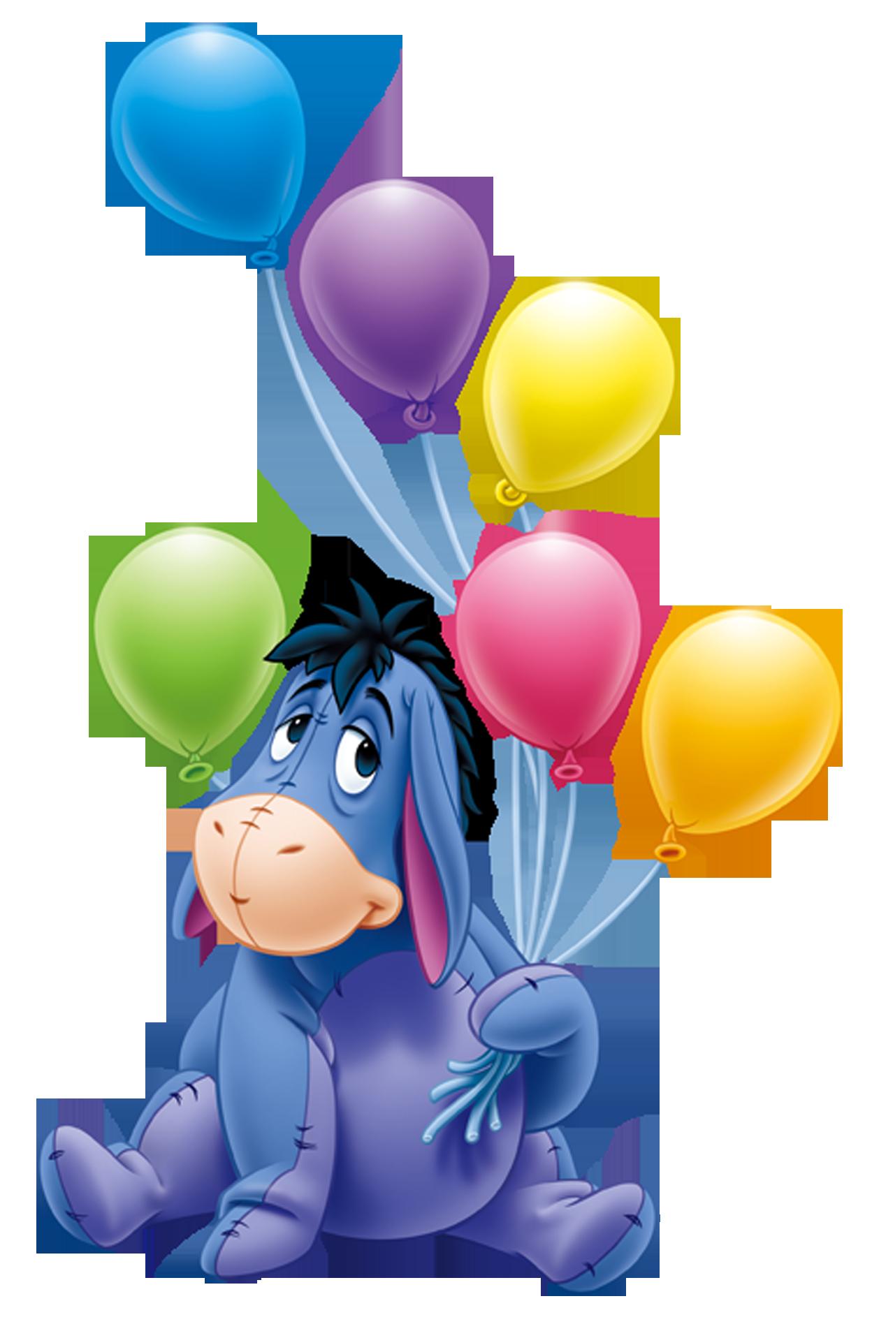 Eeyore With Balloons PNG Transparent Cartoon