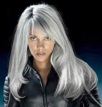Halle Berry As Storm In The X Men Movie Series Grey Hair With Bangs Long Gray Hair Silver White Hair
