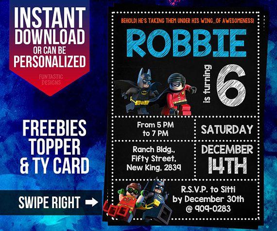 BATMAN birthday invitation Batman and Robin Invitation Robin