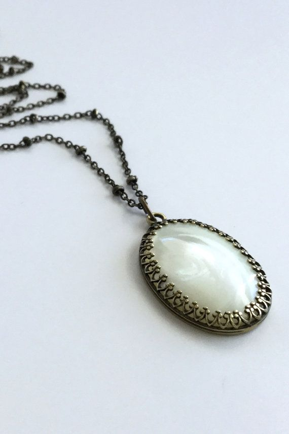 Mother of pearl pendant large pearl necklace vintage style long mother of pearl pendant large pearl necklace vintage style long brass chain white mozeypictures Images