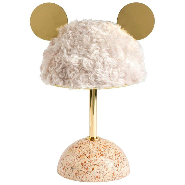 21st Century Minos Table Lamp In White Mohair Terrazzo And