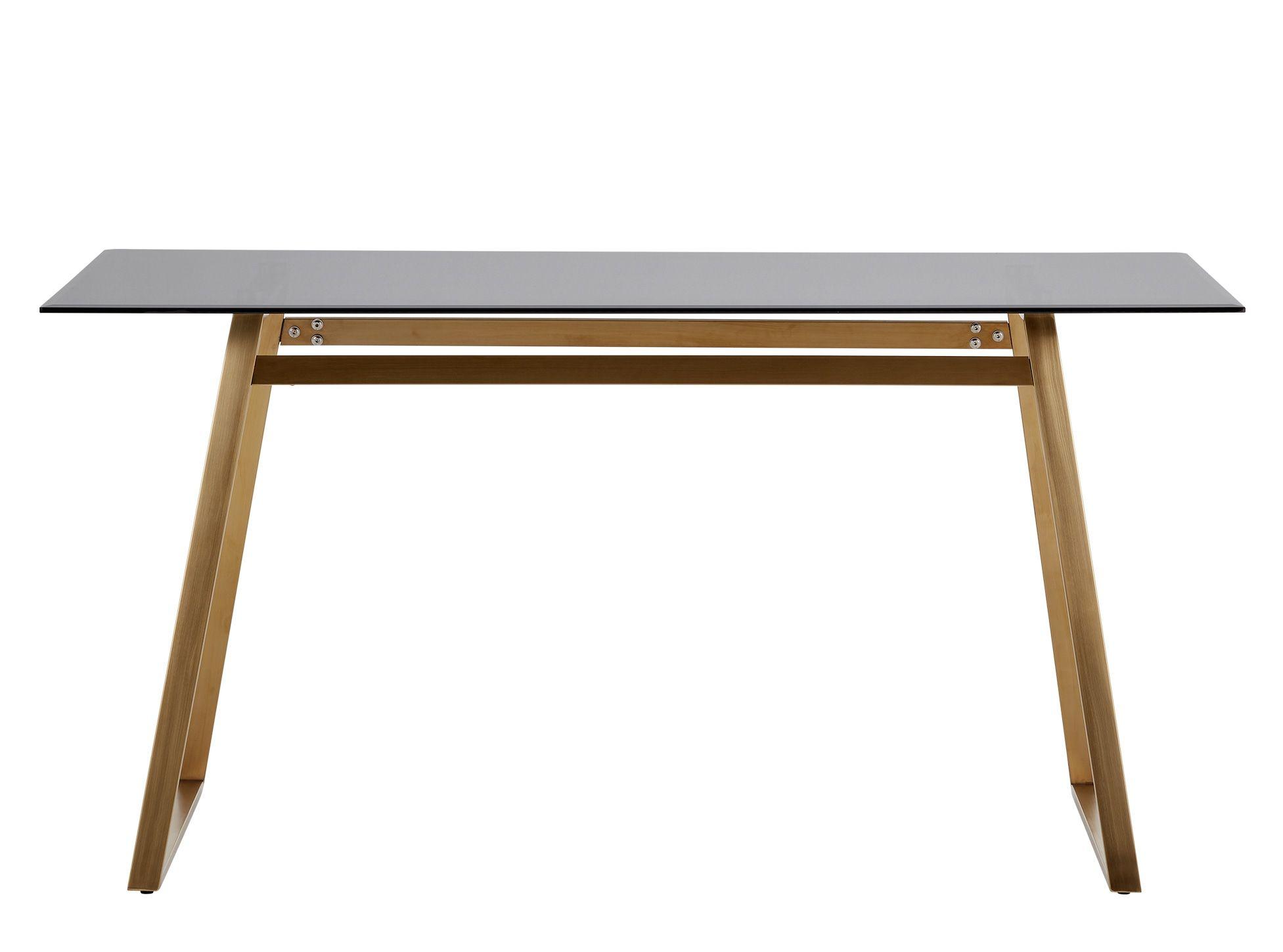 Haku 6 Seat Rectangular Dining Table Brass And Smoked
