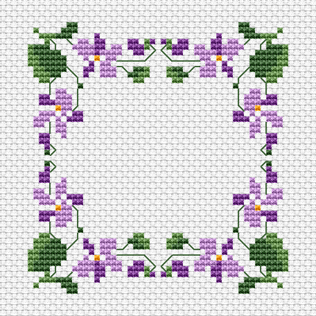 Violets Border free cross stitch pattern | Cross stitch