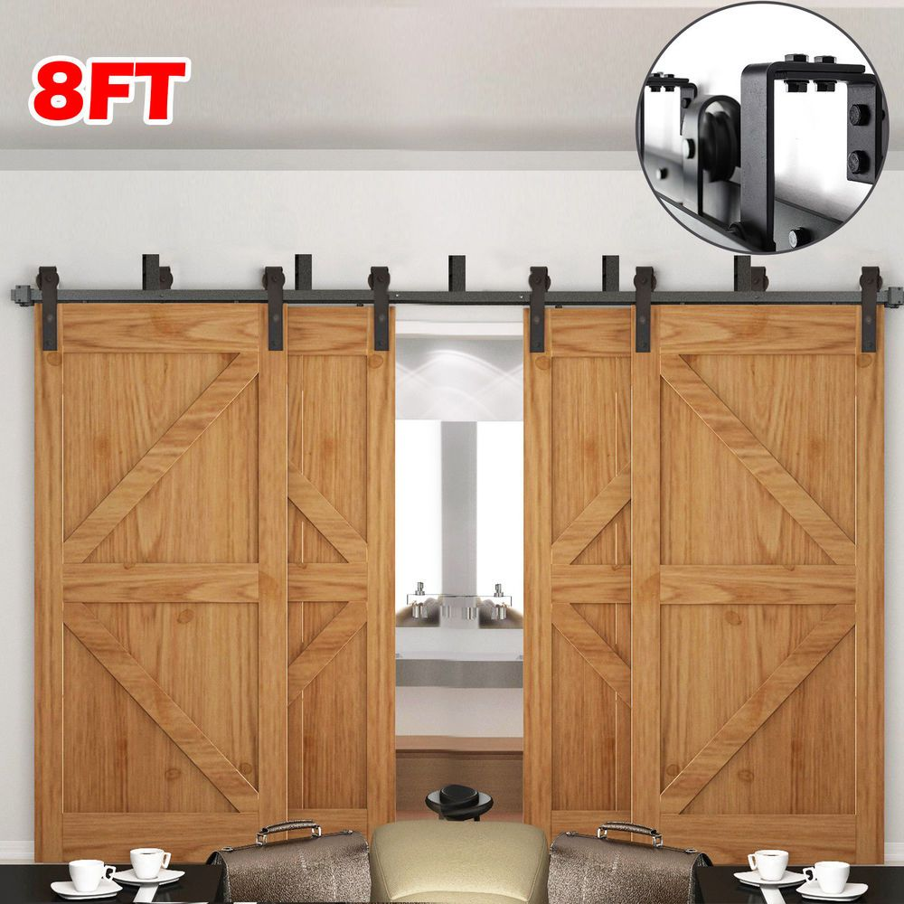 Bypass 2 Doors High Quality Bearing Sliding More Smoothly Bypass 4 Doors Bypass Bracket With Double Sliding Barn Doors Sliding Barn Door Hardware Barn Door