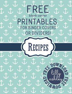 Free Printables Set For Binder Covers Or Binder Dividers Recipe