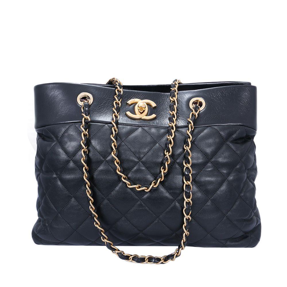 5e2032dc7 Bolsa Chanel Tote Couro Lambskin Preta Matelassê Original | All ...