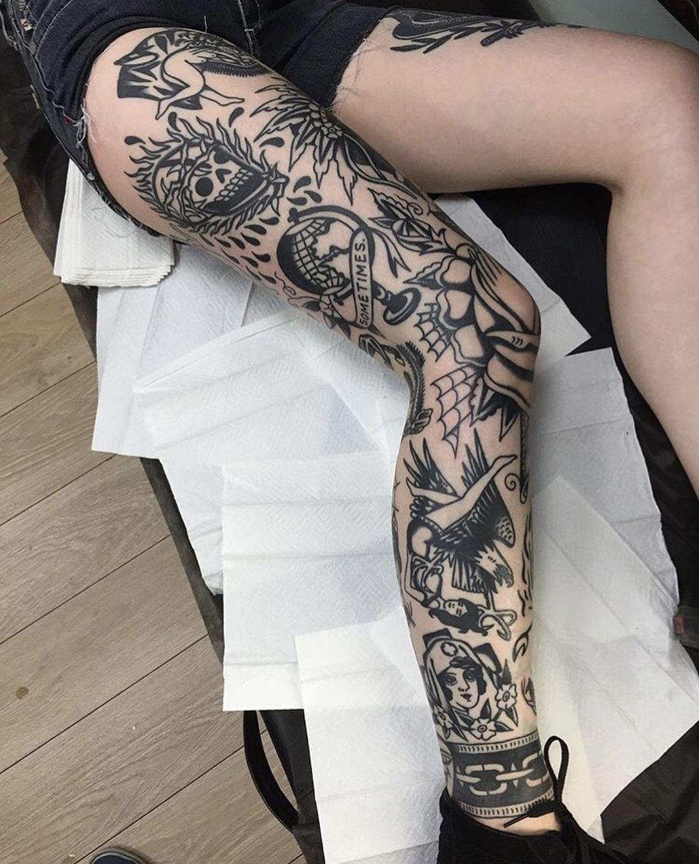 Gefallt 6 563 Mal 30 Kommentare Black Traditional Tattoos Blacktraditionals Auf Instagram Full Leg Tattoos Leg Tattoos Traditional Tattoo Leg Sleeve