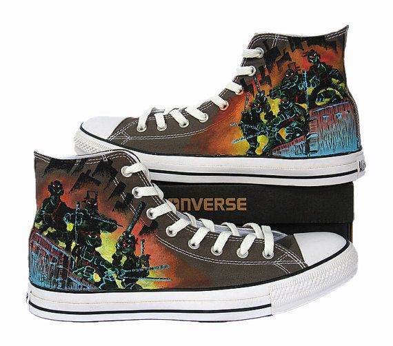b0ba65a9495b TMNT Converse shoes Custom Converse TMNT shoes anime shoes one piece hand  painted shoes on Etsy