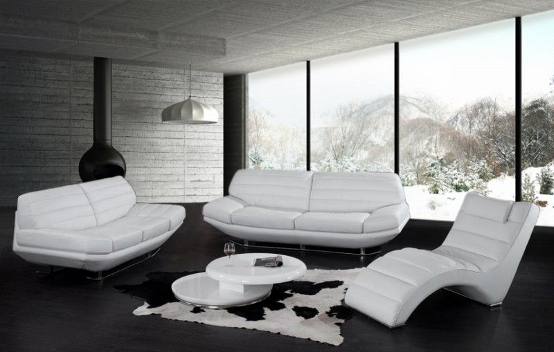 20 Classy Living Room Designs With Chaise Lounges White Leather Sofas Modern White Sofa White Leather Sofa Set