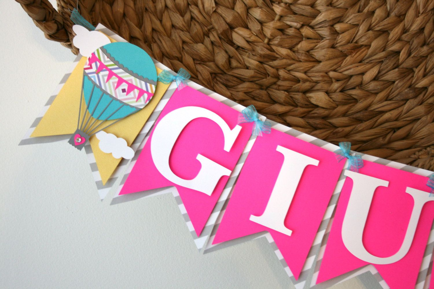 Happy Birthday Balloons With Names ~ Hot air balloon banner up up and away personalize name banner happy