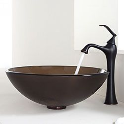 Kraus Bathroom Combo Set Frosted Brown Glass Vessel Sink/Faucet ...