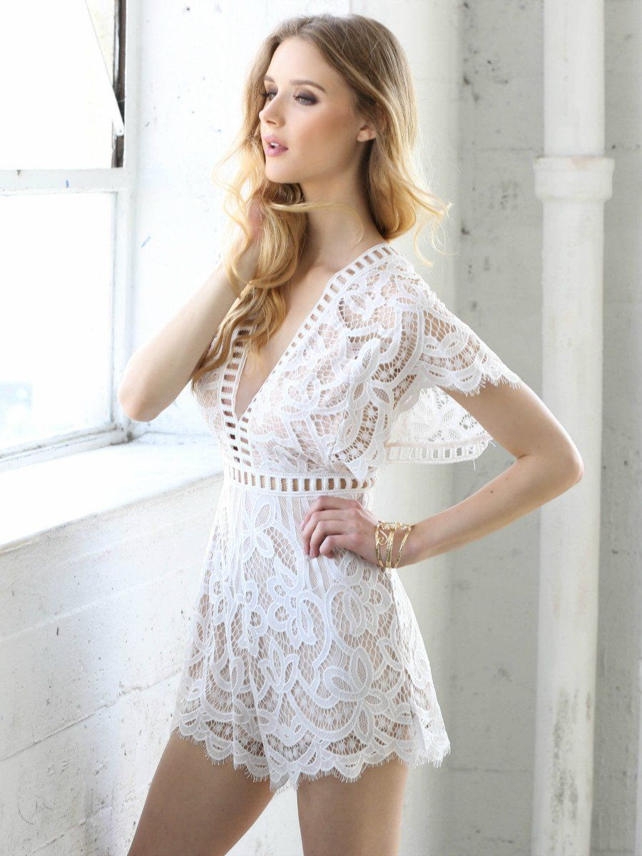 Love at first sight lace romper ivory clothesshoes pinterest
