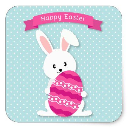 Easter bunny and egg square sticker easter bunny and party gifts negle Choice Image
