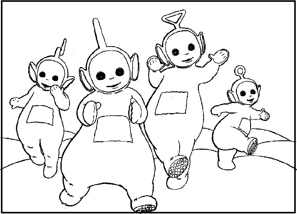 Singing Teletubbies Coloring Picture For Kids With Images