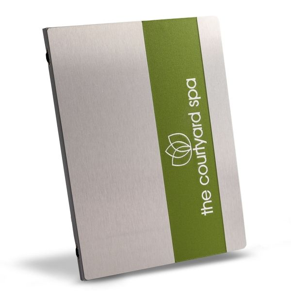 Metal menu cover with a green strip