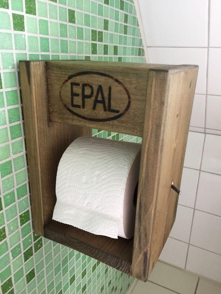 Palettenmöbel Massivholz Upcycling Toilettenpapierhalter Shabby Europalette