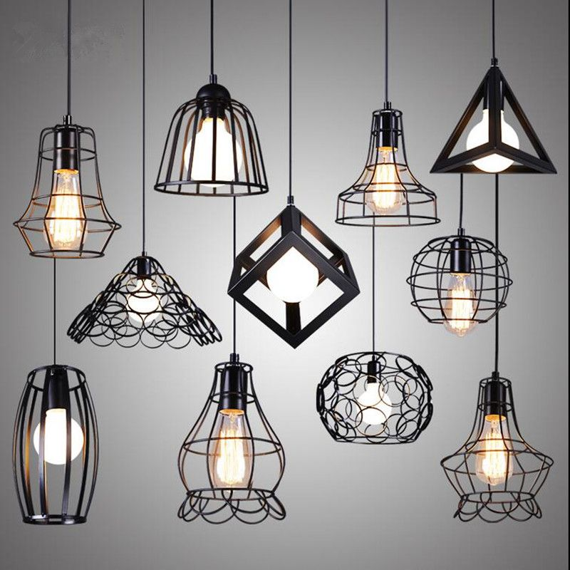 Retro Indoor Lighting Vintage Pendant Light Led Lights 24 Kinds Iron Cage Lampshade Warehouse Iluminacion Interiores Led Lamparas Modernas Lamparas Colgantes