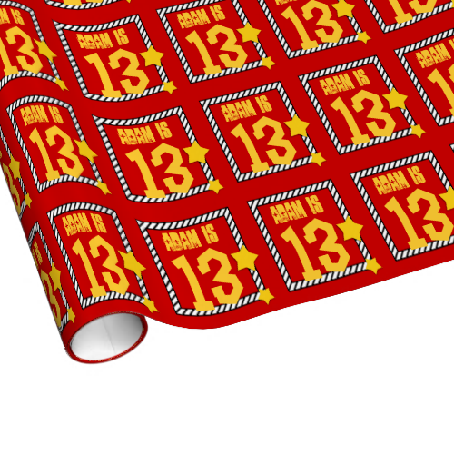 13th Birthday Wild Number Stars 03 RED Wrapping Paper $17.95. To see more birthday wrapping paper, go to http://www.zazzle.com/jaclinart/products/cg-196333019616737524 #birthday #giftwrap #teen #teenager #gift #present #wrap #party