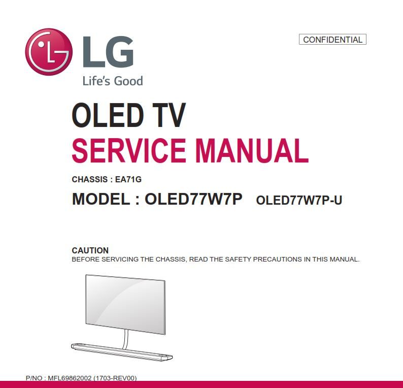 LG OLED77W7P OLED TV Service Manual and Technicians Guide | LG