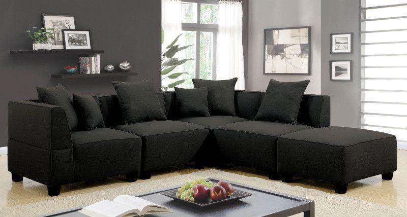 Remarkable Cm6369 5Pc 5 Pc Marian Gray Linen Like Fabric Modular Spiritservingveterans Wood Chair Design Ideas Spiritservingveteransorg