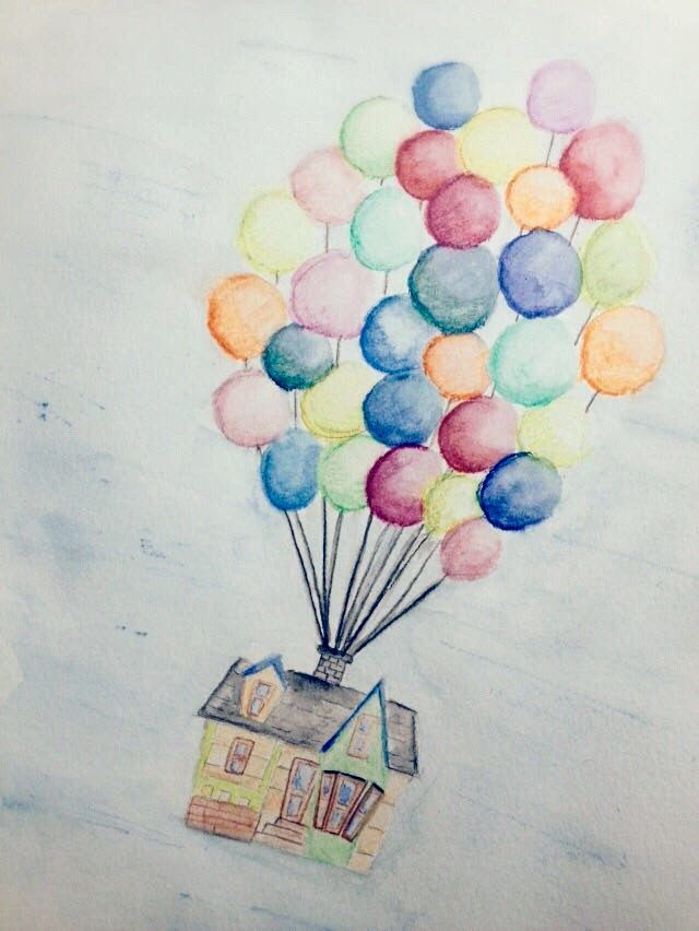 Watercolor Painting Form The Disney Pixar Movie Up Flying House