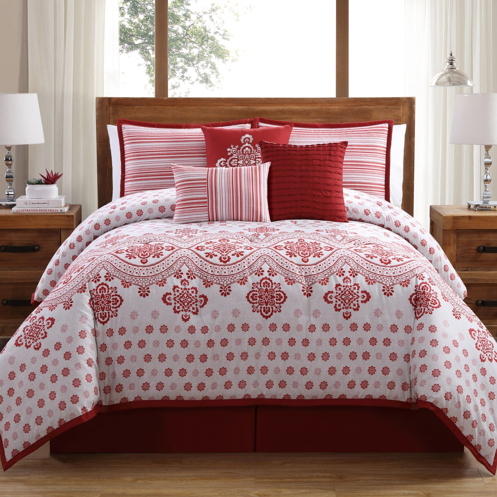 White Birch Alba 7 Piece Comforter Set King Modern Contemporary French Country Red Comforter Sets Red Bedding Queen Comforter Sets
