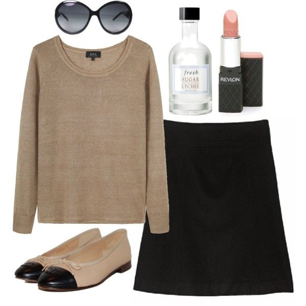 Neutral Tuesday by madgebettany on Polyvore featuring A.P.C., J.Crew, Chanel, Revlon, Fresh, j crew, perfume, skirt, lipstick and fresh
